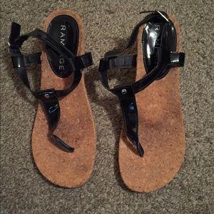 Wedge sandals/thongs/black 6.5